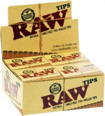 RAW Natural Unrefined Pre-Rolled Tips 20 Packs/Box