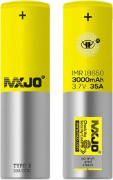 MXJO 18650 IMR 3000mAH 35A Rechargeable Yellow Battery 4PCs/Pack