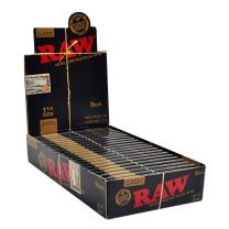 RAW Classic Black 1 1/4 Natural Unrefined Rolling Papers Box