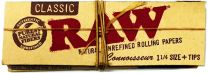RAW Connoisseur 1 1/4 Classic Unrefined Rolling Papers Plus Tips