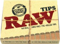 RAW Natural Unrefined Pre-Rolled Tips Purest Natural Fibers Pack