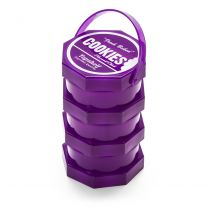 Cookies Plastic 3 Parts Purple Stacked Storage Jar