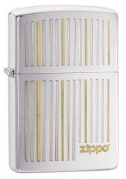 Zippo and Lines, Brushed Chrome Lighter 28646