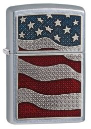 Zippo Diamond Plate Flag Lighter 29513