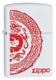 Zippo Dragon Stamp, White Matte Lighter 28855