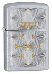 Zippo Flowers Lighter Satin Chrome Finish 29411