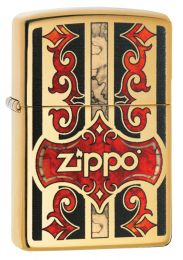 Zippo Logo Lighter High Polish Brass 29510