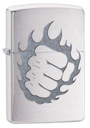 Zippo Tattoo Fire & Fist, Brushed Chrome Finish Lighter 29428