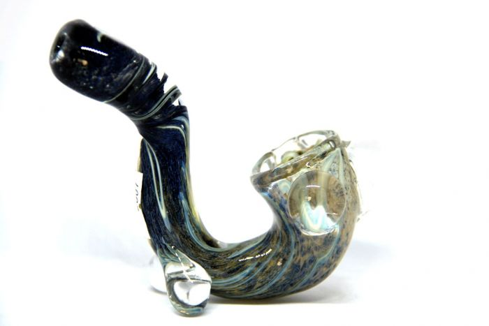 Assorted Blue Frit Dust Marble Sherlock Glass Pipe
