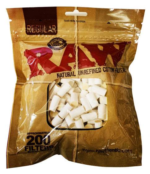 Raw Regular Natural Unrefined Cotton Filter Tips 200 Pieces