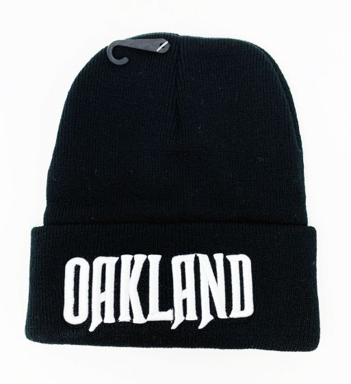 Oakland White Logo Embroidery Black Knit Hat