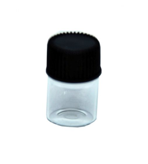 Clear Glass Short Bottle With Black Cap