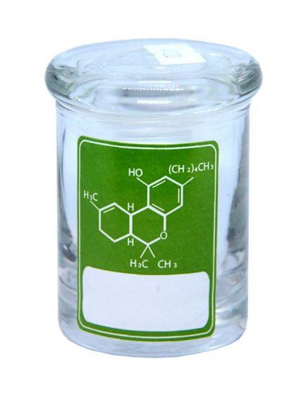 Delta 9 THC Formula Green Label Clear Glass 90ML Cannabis Storage Stash Jar