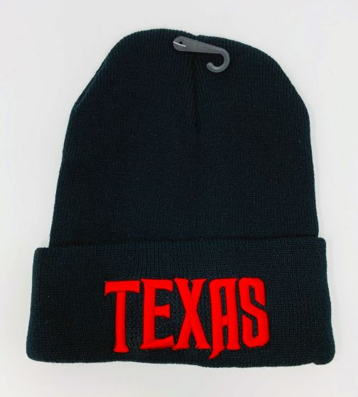 Texas Red Logo Embroidery Black Knit Hat