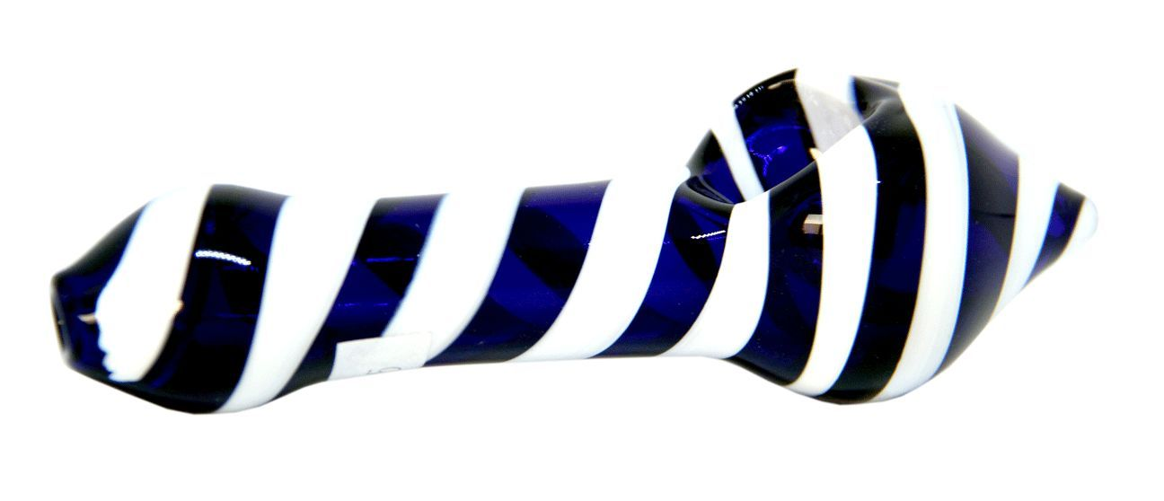 Blue and White Spiral Striped Craft Glass