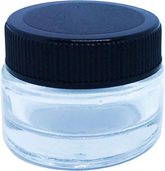 Small Glass Jar Black Plastic Lid Cover