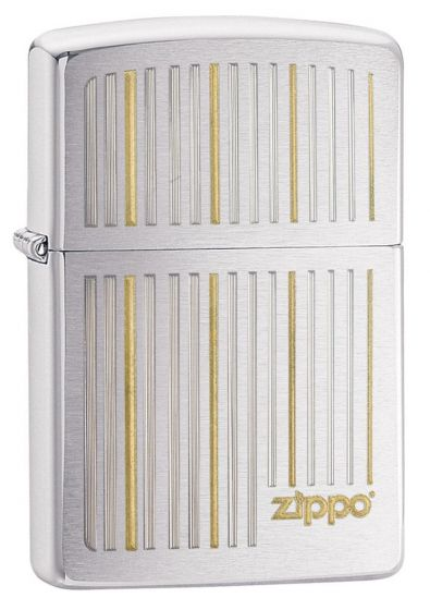Zippo And Lines Brushed Chrome Lighter 28646