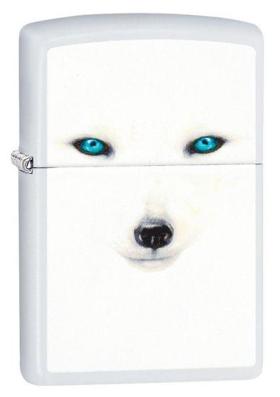 Zippo Arctic Fox Eyes Lighter White Matte Finish 28727