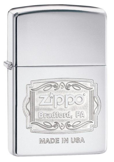 Zippo Bradford Pa Logo Lighter High Polish Chrome 29521