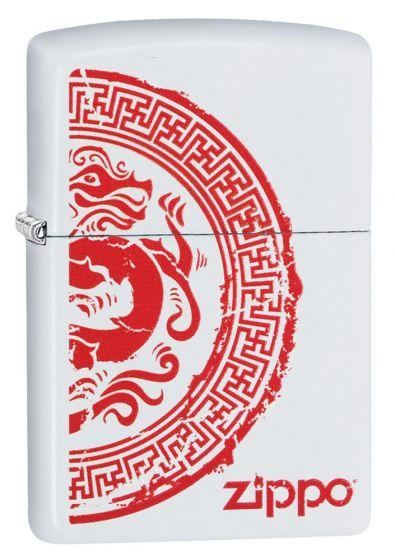 Zippo Dragon Stamp White Matte Lighter 28855