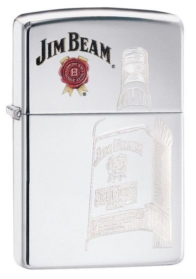Zippo Jim Beam High Polish Chrome Finish Armor Case Lighter 29524