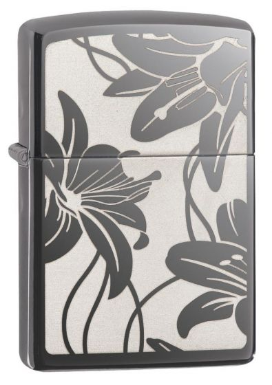 Zippo Lily Lighter Black Ice Finish 29426