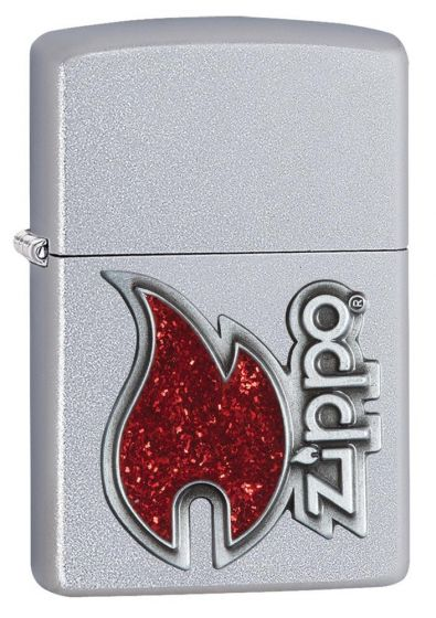 Zippo Red Flame Emblem Satin Chrome Finish Lighter 28847