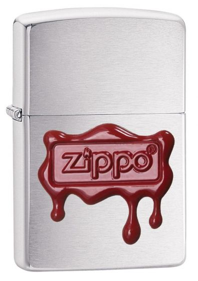 Zippo Red Wax Seal Lighter Brushed Chrome 29492