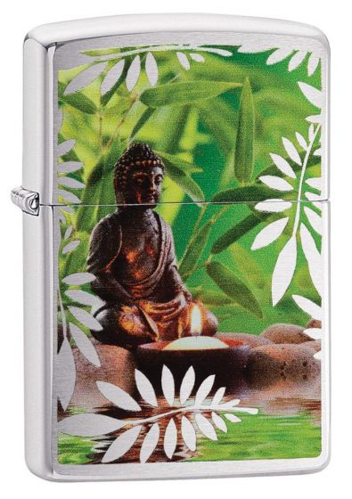 Zippo Resting Buddha Lighter With Brushed Chrome Finish 29058