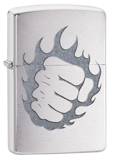 Zippo Tattoo Fire And Fist Brushed Chrome Finish Lighter 29428