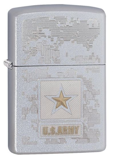Zippo US Army Lighter Model Satin Chrome 29388