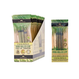 King Palm 24 Packs Display 3 Slim Rolls Hand Rolled Leaf