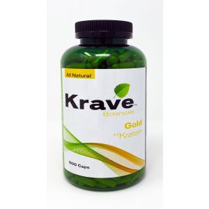 All Natural KRAVE Botanicals Gold Kratom 500 Caps