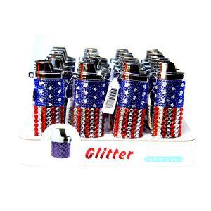 American Flag Glitter Lighter Sleeve, Pack of 20 CT