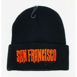 San Francisco Orange Logo Embroidery Black Knit Hat