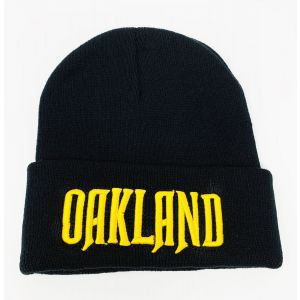 Oakland Yellow Logo Embroidery Black Knit Hat