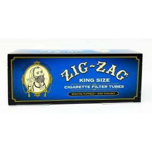 Zig Zag King Size Cigarette Filter Tubes White Tipped 200 Count