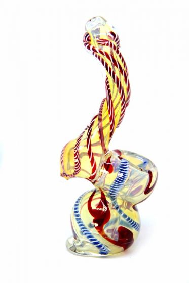 Dark Orange White Twisted Stripes Bubbler Glass Pipe