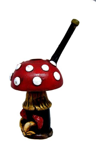 Wooden Handcrafted Red Mushroom Pipe