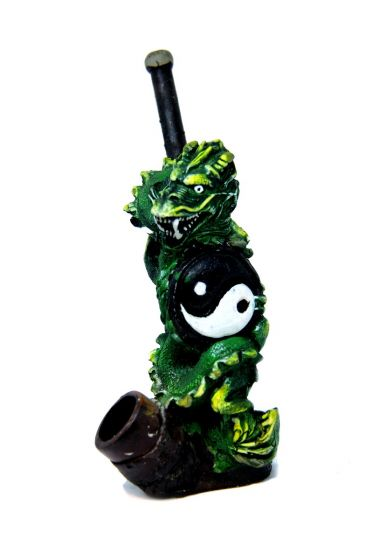 Yin and Yan Kung Fu Green Dragon Handmade Wooden Pipe