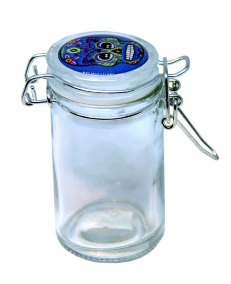 Secure Air Tight Flip Lid Skull Top 90ML Clear Glass Storage Stash Jar
