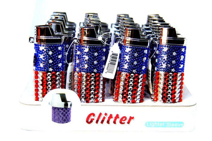 American Flag Glitter Lighter Sleeve Pack Of 20 Ct
