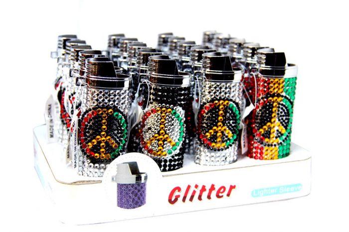 Beaded Peace Sign Glitter Lighter Sleeve Pack Of 20 Ct