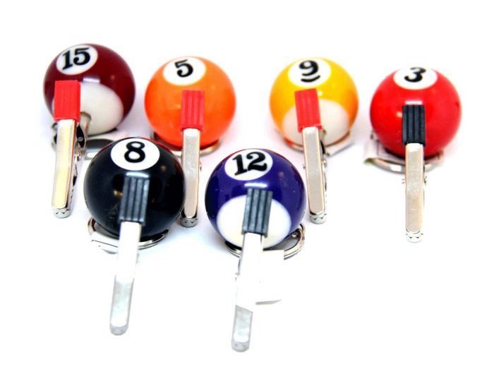 Billiard Ball Clip Key Chain Bag Of 8CT