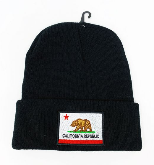 California Logo Embroidery Black Knit Hat