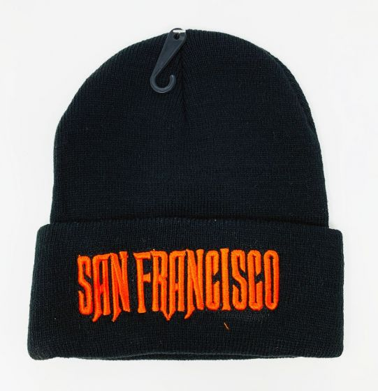 San Francisco Orange Logo Embroidery Black Knit Hat